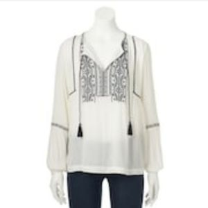 Women's SONOMA Embroidered Peasant Top